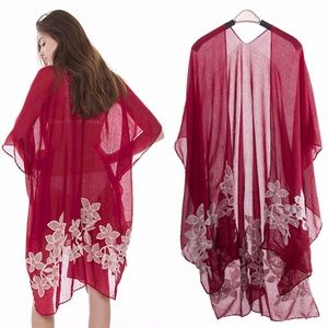🆕Crimson Floral Kimono